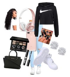 """Casual School Outfit"" by raynep ❤ liked on Polyvore featuring Beats by Dr. Dre, NIKE, Bobbi Brown Cosmetics, Charlotte Russe, Effy Jewelry and MICHAEL Michael Kors"