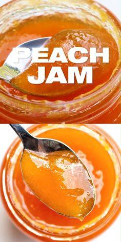 Jelly Recipes, Fruit Recipes, Peach Jam Recipe Without Pectin, Peach Jelly Recipe Canning, Peach Preserves Recipe, Fruit Jam, Fruit Preserves, Cocktail Movie, Cocktail Sauce