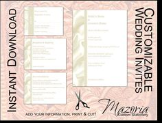 DIY Wedding Invite set TEMPLATE Instant Download printable (ivory satin 5X7 with 3 cards)