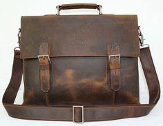 15'' Genuine Leather Briefcase/ Messenger Bag/ Laptop Bag/ Macbook Bag/ Shoulder Bag/ Men's Bag/ Crossbody Bag in Vintage Dark Brown