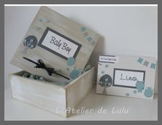 boite de naissance personnalisee et son livre d'or Jewellery Boxes, Stamping Up, Baby Cards, Decorative Boxes, Baby Shower, Diy Crafts, Scrapbooking, Gifts, Silhouette Portrait