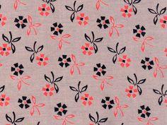 vintage fabric - coral, gray, and black floral by kmel, via Flickr