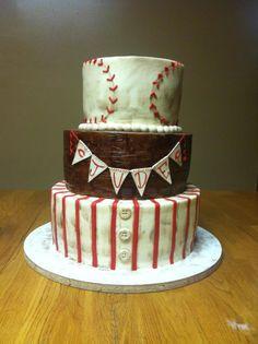 Vintage baseball cake for baby shower! LOVE.