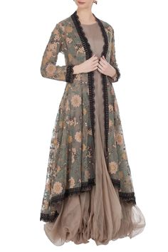 Buy Balloon flared tunic with embroidered jacket by Kavita Bhartia at Aza Fashions Designer Party Wear Dresses, Kurti Designs Party Wear, Indian Designer Outfits, Indian Outfits, Stylish Dress Designs, Designs For Dresses, Stylish Dresses, Fashion Dresses, Pakistani Dresses Casual