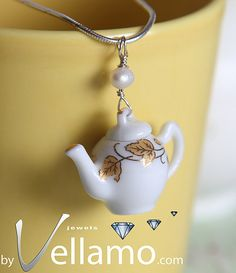 Delicate sterling silver teapot / coffee pot pendant by byVellamo, $33.00