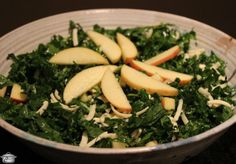 Crisp apples, sharp cheddar and an apple cider vinaigrette make this kale salad colourful and delicious.