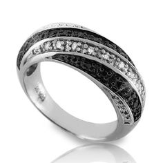 Solid Sterling Silver White & Black Diamond Band Ring » R227