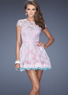 La Femme 19811 Pink Cute Lace Cap Sleeves Cheap Homecoming Dresses 2015