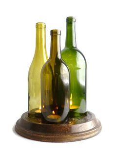 Botella de vino vela sostenedor de la lámpara de huracán central triple