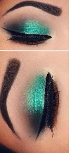 Makeup goals make up green eyes Ideas Teal Eye Makeup, Black Makeup, Makeup For Green Eyes, Eyebrow Makeup, Makeup Eyeshadow, Makeup Eyebrows, Green Eyeshadow, Flawless Makeup, Gorgeous Makeup