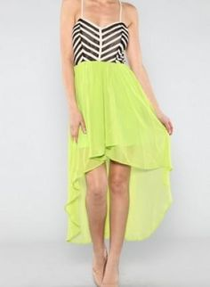 Neon+Green+High+Low+Dress+with+Chevron+Top,++Dress,+black+and+white++neon++high+love,+Chic