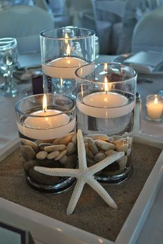 Champange beach Wedding decorations Wedding centerpieces with starfish boutonniere