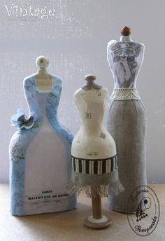 Ideas para el hogar: Vintage maniquíes hechos de papel maché en la botella.