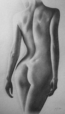 Painting, Nude, Pencil, Akt, Michaela Kršáková