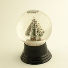 Vintage Glass Snowglobe with Christmas Tree Snow Globe Made in Austria