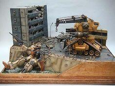 Superb diorama with a custom guntank