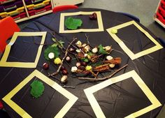 Autumn transient art! A simple but inviting idea! #eyfs #earlyyears #autumn #fall #aceearlyyears #transientart