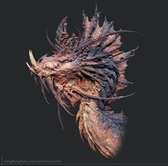 Amazing art by : Liangfeng zhou concept by : Fantasy Dragon, Dragon Art, Fantasy Art, Creature Concept Art, Creature Design, Fantasy Creatures, Mythical Creatures, Beast Creature, Humanoid Creatures