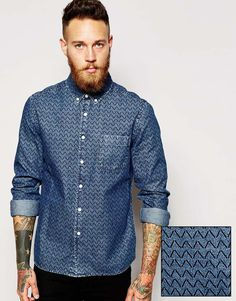 Image 1 of ASOS Denim Shirt With Print In Long Sleeve