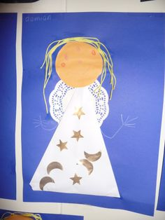 Map juf Ineke: kerstengel- small lace doily, raffia, construction paper..stick on stars for sky and maybe add a halo or candle