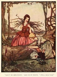 "Rie Cramer ~ Snow-White and Rose-Red ~ Grimm's Fairy Tales ~ 1927 ~ ""Don't be impatient,"" said Snow-White, ""I will help you."""