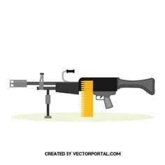 Automatic machine gun vector illustration