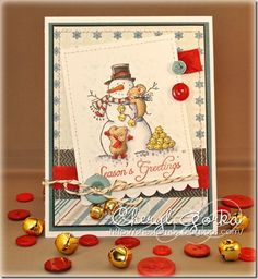 Build a Snowman (F251) and Season's Greetings (C427) from Great Impressions Stamps  Card by Cheryl (Shestamps)