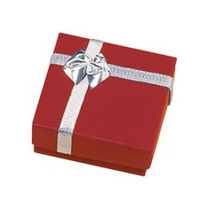 """Noble Gift Packaging's  """"Ottawa"""" collection of red jewellery boxes are dressed up like little gift parcels, with a metallic ribbon and bow detail on the lid. These pendant boxes are two-piece paper boxes with a subtle shimmer to their metallic finish."""