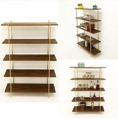 #walnut and #gold #wallunit #shelves #midcentury $750