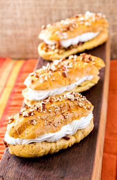 Pecan Pie Eclairs from Simply Sweet Dream Puffs by Barbara Schieving. A perfect individual Thanksgiving Dessert recipe that's crunchy, creamy, sticky, flaky and gooey all at once. Delicious! | pastrychefonline.com