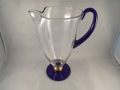 Cobalt Blue and Clear Pitcher with Gold Accents 11 by burnedbunny