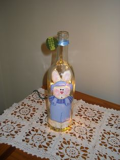 Painted Easter Bunny Wine Bottle with Lights. $15.00, via Etsy.