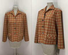 Pendleton Plaid Wool Jacket // Vintage Women's by WEVco Pendleton Woolen Mills, Yellow Line, Thing 1, Mother Of Pearl Buttons, Outerwear Women, Plaid Pattern, 1960s, Vintage Ladies, Women's Clothing