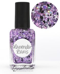 Lynnderella Limited Edition—Lavender Davis is a character in The Pursuit of Love by Nancy Mitford. The lacquer named for her has assorted lavender glitters with black and white accents—all in a lilac-shimmered clear base.