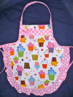 Cupcake Apron Kids Apron with Polka Dots by SilverThreadsSewing
