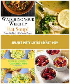 Find out why beginning your meal with soup will help you lose weight and find the recipe for these great low-calorie vegan soups. low calorie meals Susan's Dirty Little Secret Soup Low Calorie Vegan, Low Calorie Recipes, Broccoli Cheddar Quiche, Quiche Cups, Vegan Soups, Healthy Salads, 4 Ingredients, I Am Awesome, Lose Weight