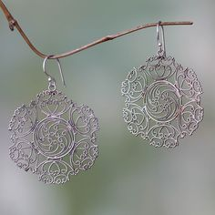 Novica Sterling silver dangle earrings, Gianyar Lace