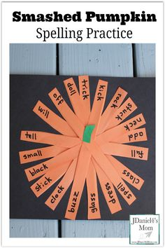 Smashed Pumpkin Spelling Practice- This is a great way to practice writing spelling words or explore word families. Kids then get to craft a pumpkin with the words they have written. Spelling Word Activities, Spelling Worksheets, Spelling Games, Spelling Practice, Spelling Lists, Spelling Words, Writing Practice, Sight Words, Spelling Ideas