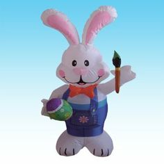 4 Foot Party Inflatable Bunny Holding Paintbrush - Yard Blow Up Decoration by BZBGoods. $39.00. Everthing Included: Inflator Fan, Ground Stakes and Tethers. Self Inflates in Moment & Lights Up. Great for Indoor and Outdoor; Easy Set Up. Inflated Size Measures (L x W x H): 26 x 18 x 49 inches. Deflates Back Down for Easy Storage. With self-inflating design, this Inflatable will be presented in front of your family in seconds. With the lights, it is the perfect decoration at your ...
