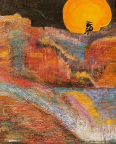 Kokopelli on a Marmalade Moon NIght Revisited - by Anne Elizabeth Whiteway