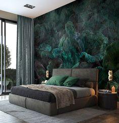 Nymphea - Customized Unique Wallpaper, Removable, Washable and Reusable Modern Bedroom, Master Bedroom, Bedroom Decor, Bedroom Ideas, Parametrisches Design, Interior Design, Home Room Design, House Design, Unique Wallpaper