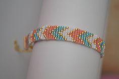 Bracelet manchette en Perles Miyuki délicat 11/0 Couleur : Or, Saumon, Turquoise et Blanc