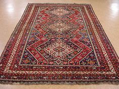 6 x 10 ANTIQUE PERSIAN QASHQAI Tribal Hand Knotted Wool REDS BLUES Oriental Rug