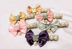 pearl bowknot butterfly duck hair clips hairpins Accessories decor Lady girl's CN post $0.84