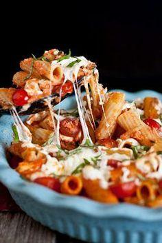 Grilled Chicken Caprese Pasta with Garlic, Romano, Mozzarella, and Fresh Basil. #food #recipes