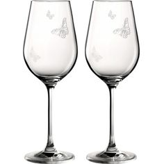 ROYAL ALBERT Miranda Kerr set of two wine glasses 350ml ($36) ❤ liked on Polyvore featuring home, kitchen & dining, drinkware, royal albert and butterfly wine glasses
