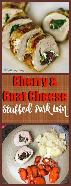Easy, delicious and healthy roasted Cherry and Goat Cheese Stuffed Pork Loin is overflowing with flavor. Click to read more!