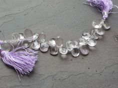4 Inch Strand - Natural Light Lavender Amethyst Faceted Pear Briolettes with tassels on Etsy, $10.75