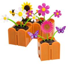 """Plastic Solar-Powered Connectable Dancing Flowers, 4½"""" Choose From 4 Designs"""