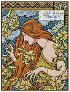 Art Nouveau LadyGarden of Lilies by CrossStitchRinna on Etsy, $9.50